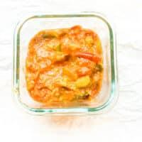 tomato relish in square clear glass dish