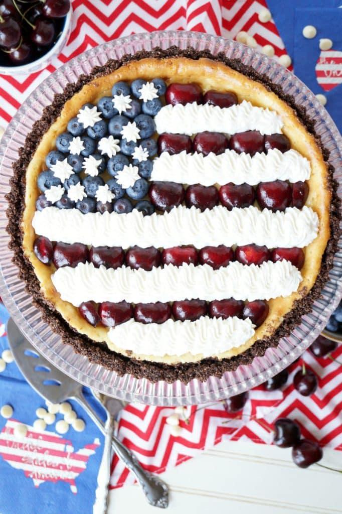 American Flag White Chocolate Cheesecake