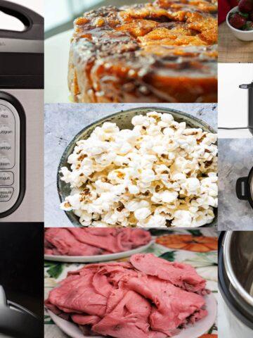 instant pot close up, popcorn, roast beef, monkey break, overhead shot of instant pot