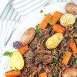 pot roast on white platter