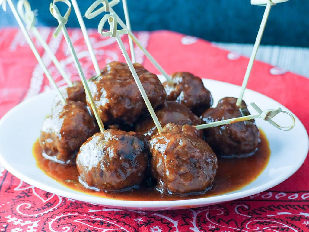 sauced meatballs on serving dish
