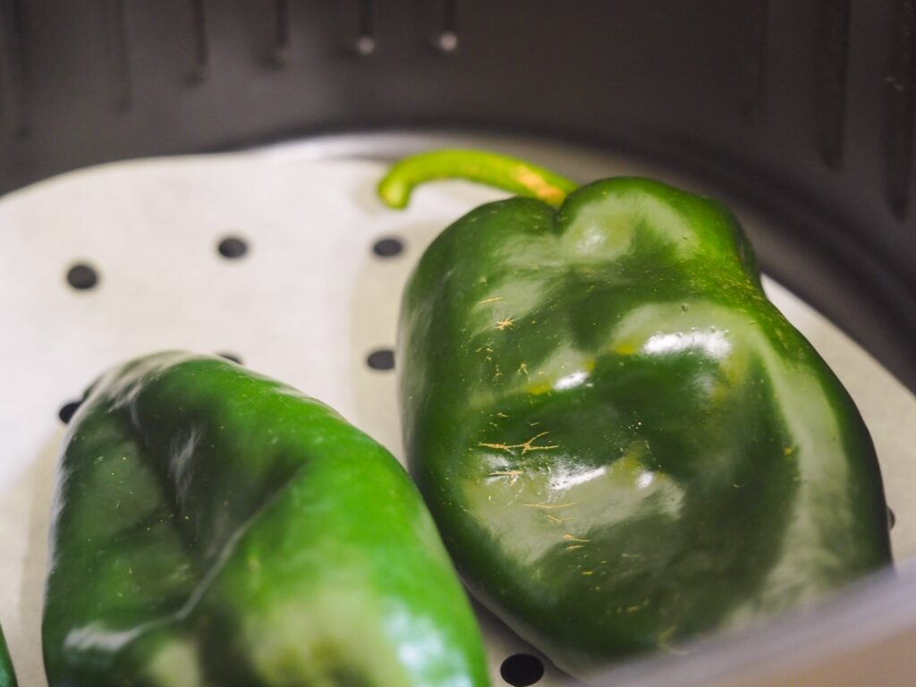 poblano peppers in air fryer basket