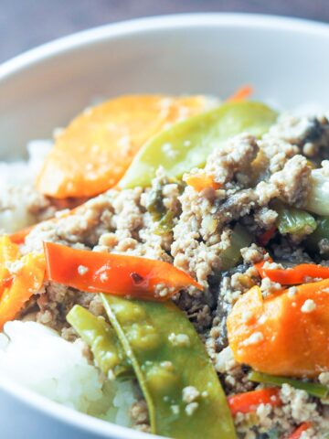 close up of ground pork stir fry with vegetables on top of jasmine rice in white bowl