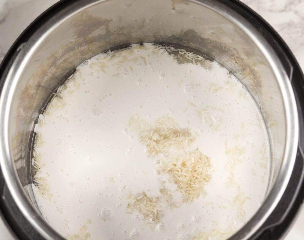 overhead view of coconut rice ingredients in Instant Pot