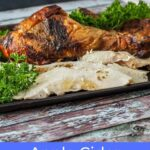 carved turkey pieces on baking sheet sitting on wooden countertop