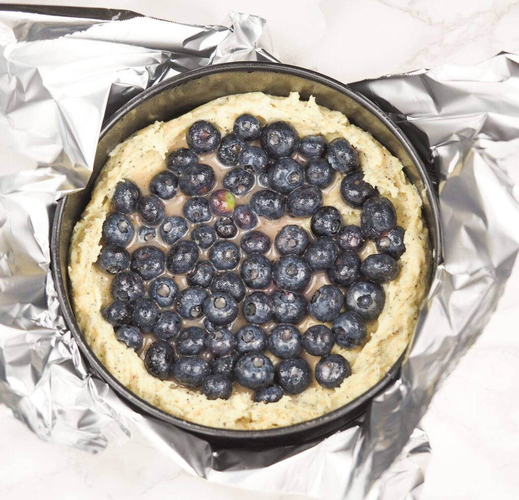 raw blueberry poppy seed cake in springform pan sitting on foil