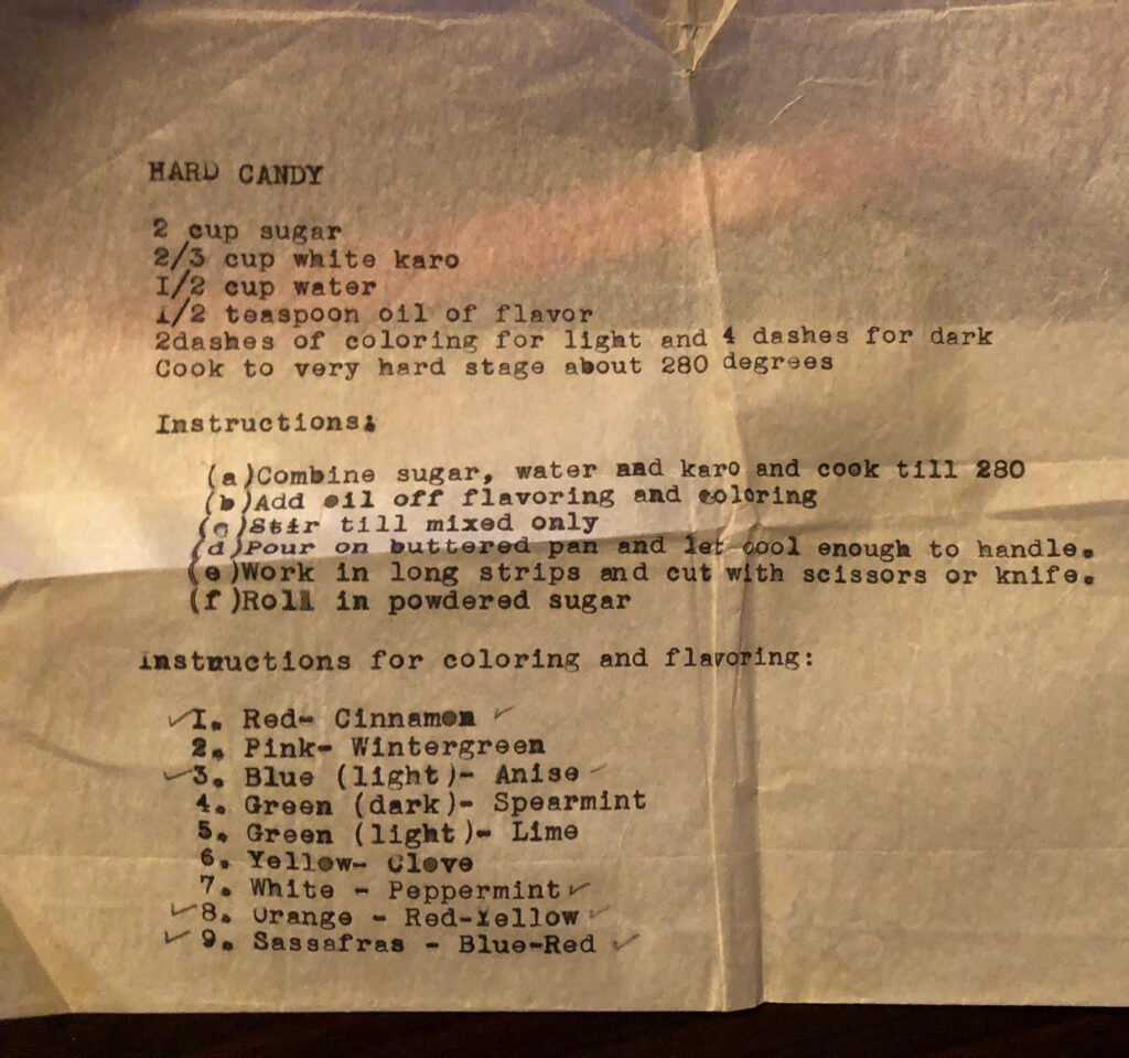 old typed recipe card