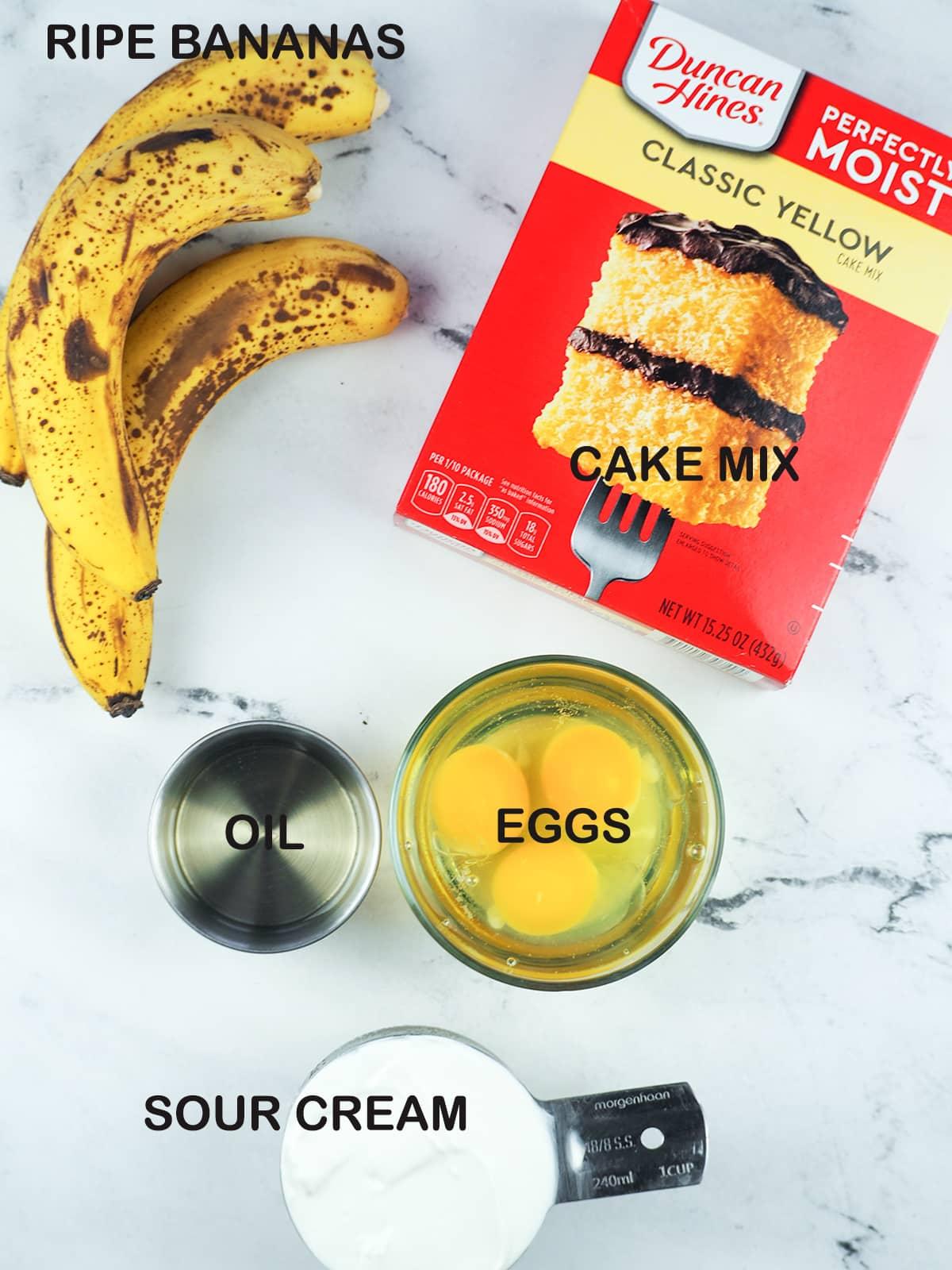 ingredients for banana sour cream cake
