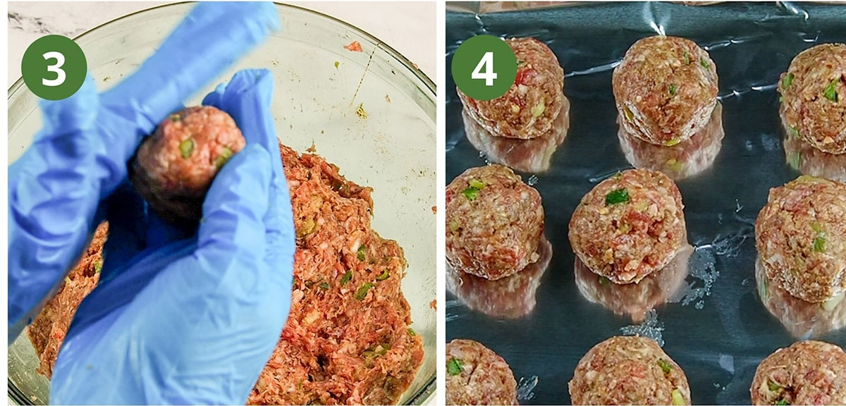 photo collage forming meatballs then sitting on baking sheet