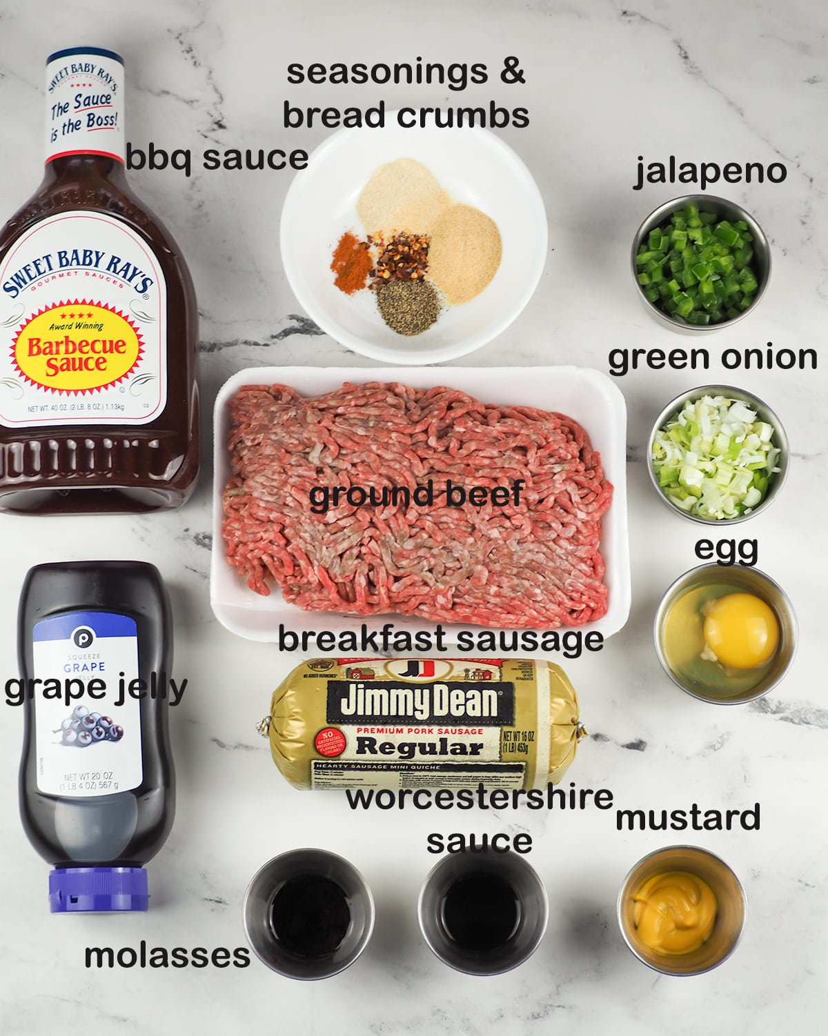 ingredients for meatballs with grape jelly and barbecue sauce