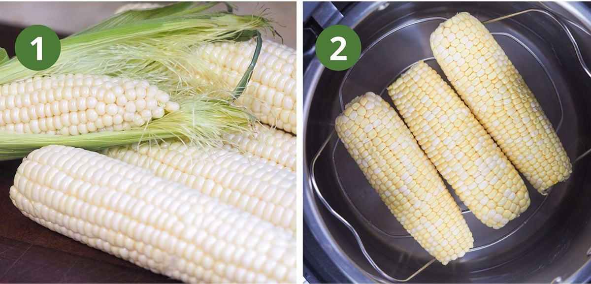 husked corn and corn in instant pot ready to cook