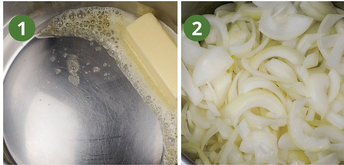 melting butter and onions in step by step process shot