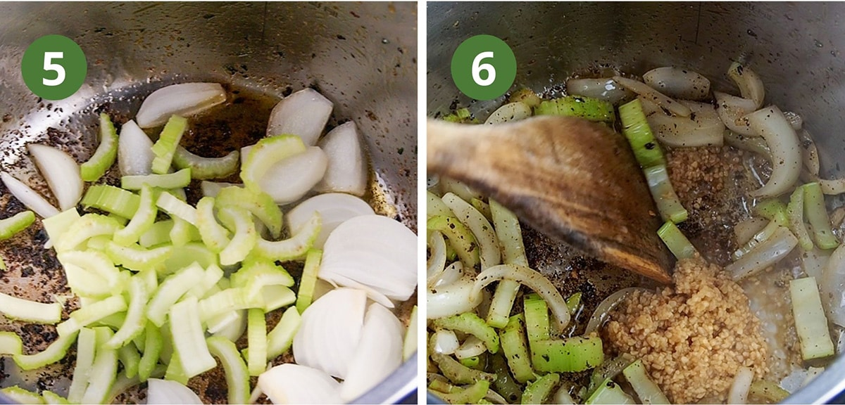 adding celery, onions, and garlic to pan for sauteeing
