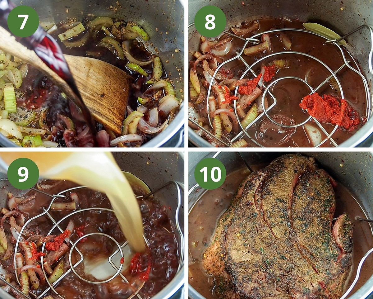 deglazing the pan with wine, and finishing ingredient to prepare roast for cooking