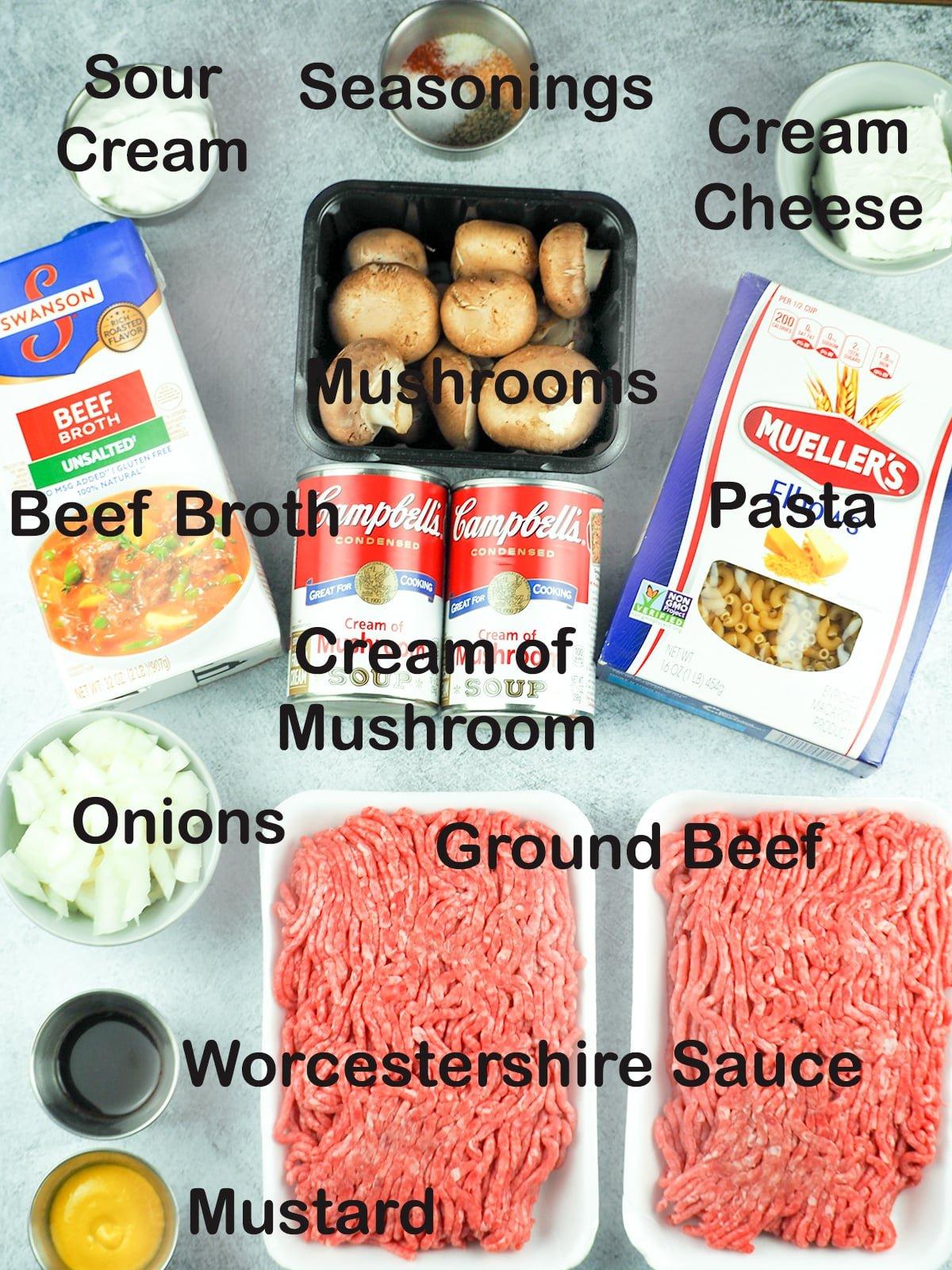 ingredients for ground beef stroganoff
