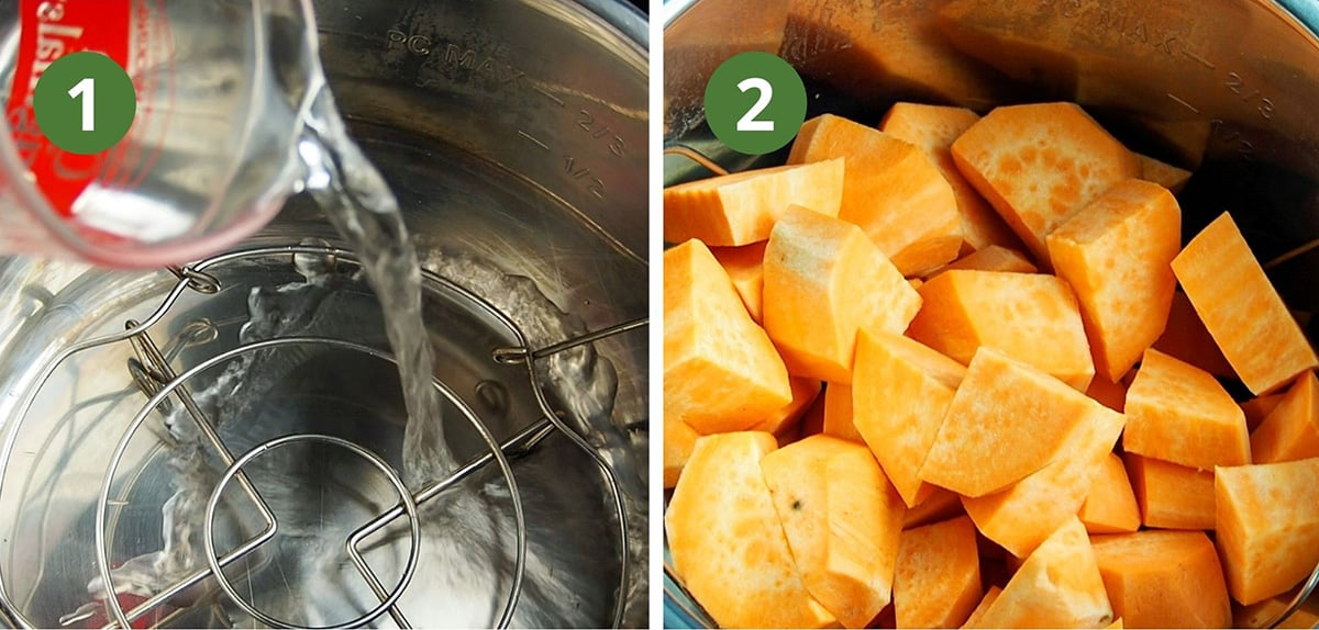add water, rack, and cut sweet potatoes to instant pot