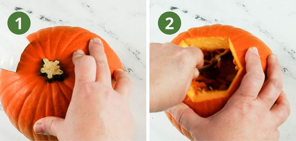 removing pumpkin stem and removing seeds/pulp
