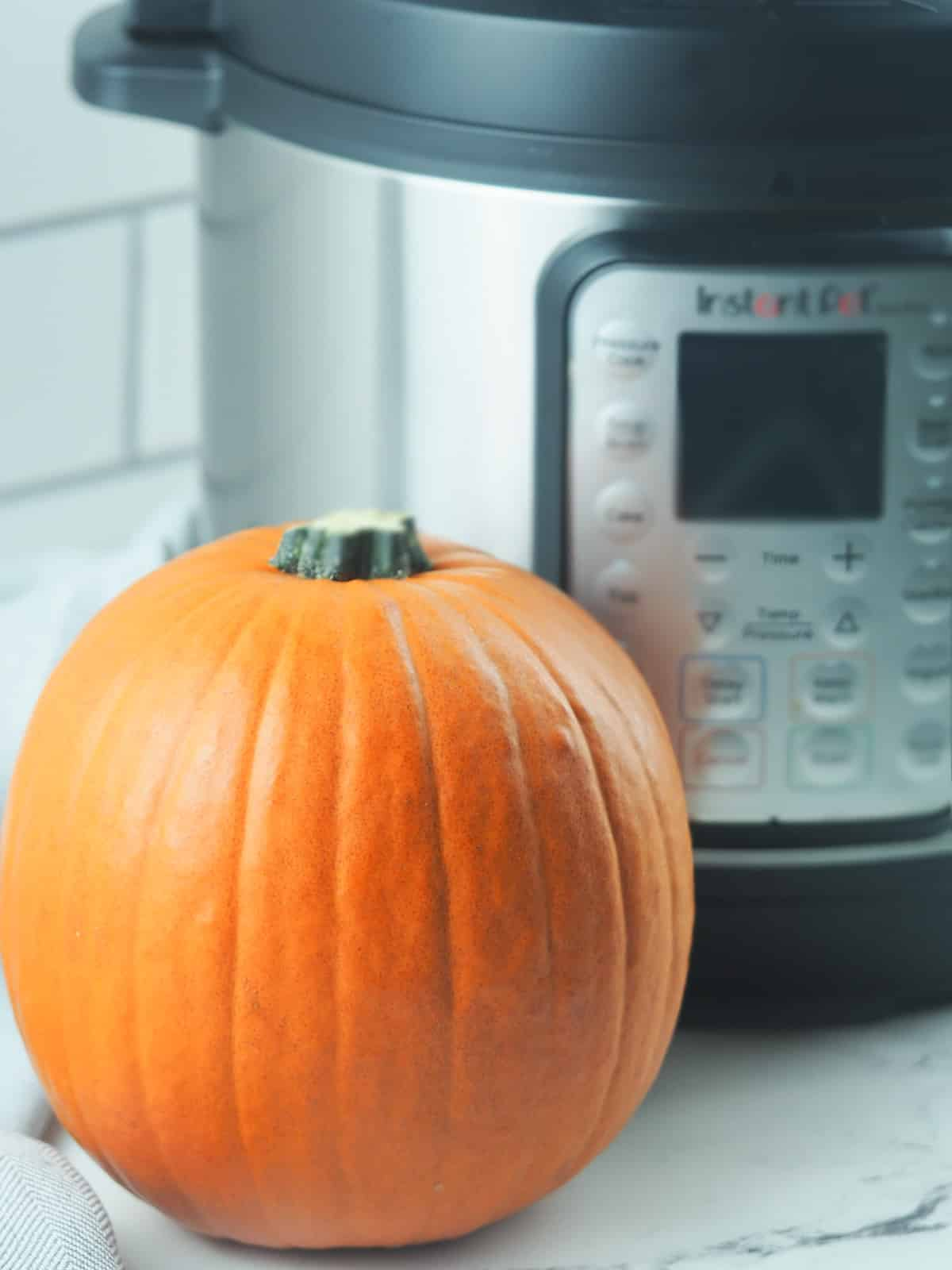 pie pumpkin sitting next to an instant pot